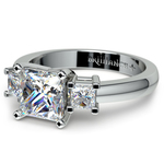 Three Stone Princess Moissanite Engagement Ring in White Gold (6.5 mm) | Thumbnail 01