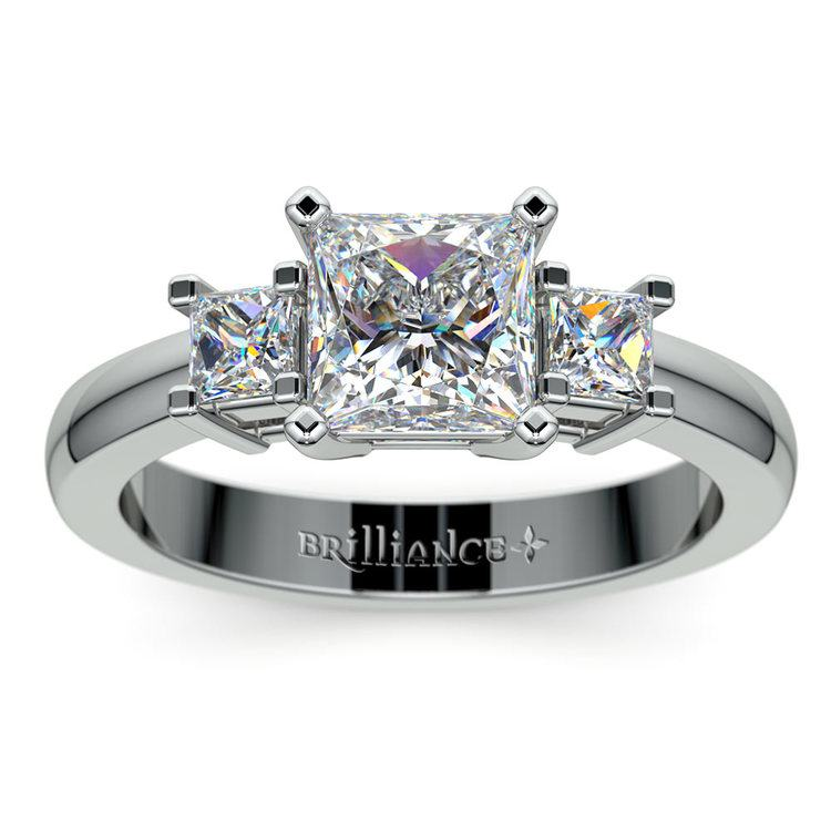 Three Stone Princess Moissanite Engagement Ring in White Gold (6.5 mm) | 02
