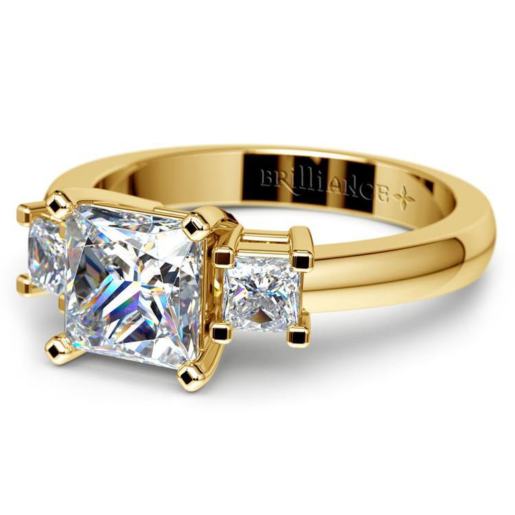 Three Stone Princess Moissanite Engagement Ring in Yellow Gold (6.5 mm) | 01