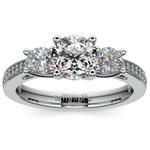 Three Stone Trellis Diamond Engagement Ring in Platinum | Thumbnail 01