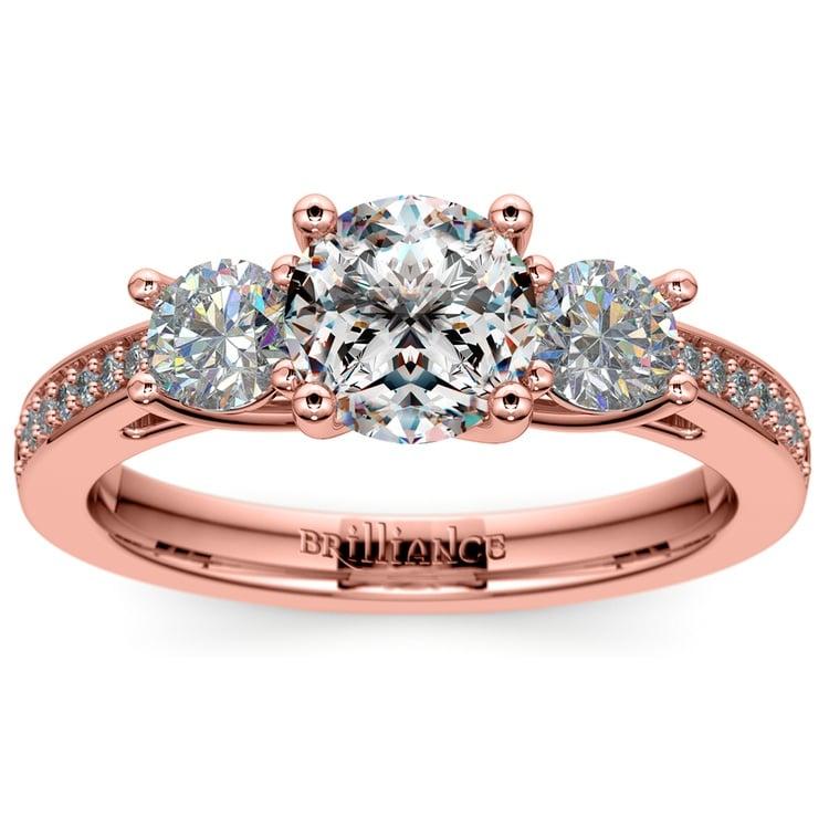 Three Stone Trellis Diamond Engagement Ring in Rose Gold | 01