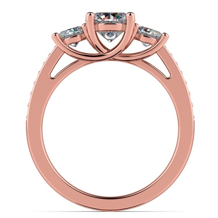 Three Stone Trellis Diamond Engagement Ring in Rose Gold   02