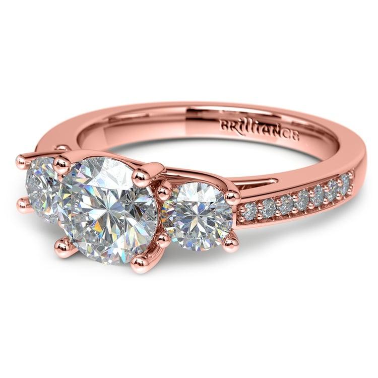 Three Stone Trellis Diamond Engagement Ring in Rose Gold   04