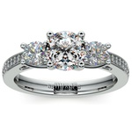 Three Stone Trellis Diamond Engagement Ring in White Gold | Thumbnail 01