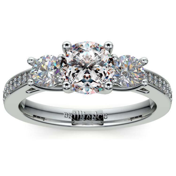 Three Stone Trellis Diamond Engagement Ring in White Gold | 01