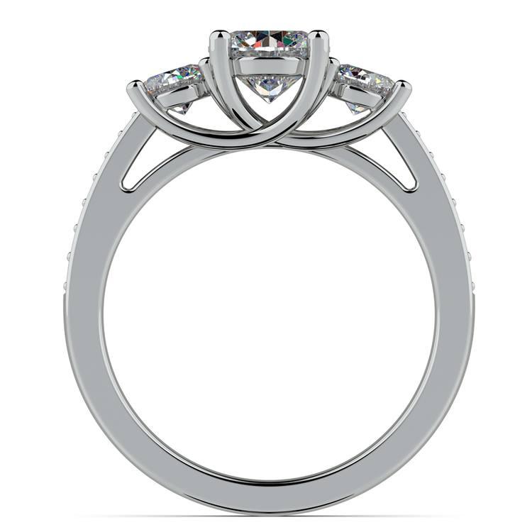 Three Stone Trellis Diamond Engagement Ring in White Gold | 02