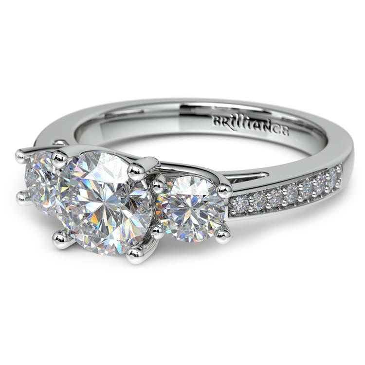 Three Stone Trellis Diamond Engagement Ring in White Gold | 04