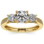 Three Stone Trellis Diamond Engagement Ring in Yellow Gold | Thumbnail 01