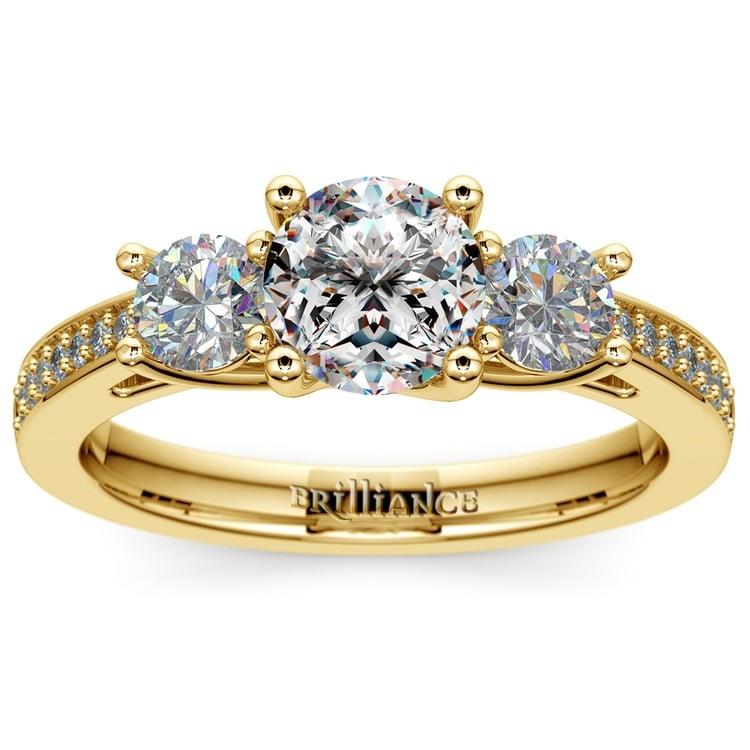 Three Stone Trellis Diamond Engagement Ring in Yellow Gold | 01