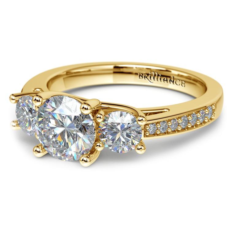 Three Stone Trellis Diamond Engagement Ring in Yellow Gold | 04