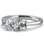 Trapezoid Diamond Engagement Ring in Platinum (1/3 ctw) | Thumbnail 04