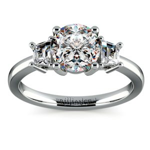 Trapezoid Diamond Engagement Ring in Platinum (1/3 ctw)
