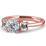 Trapezoid Diamond Engagement Ring in Rose Gold (1/3 ctw)   Thumbnail 04