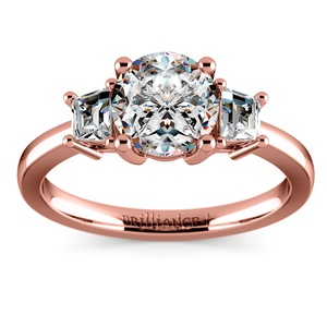 Trapezoid Diamond Engagement Ring in Rose Gold (1/3 ctw)