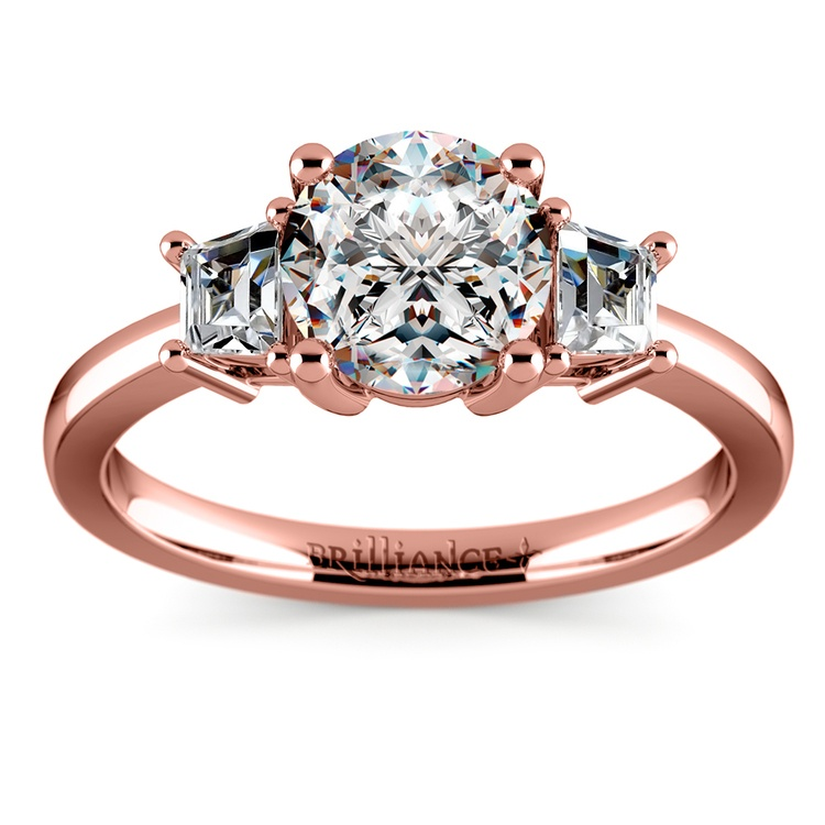 Trapezoid Diamond Engagement Ring in Rose Gold (1/3 ctw)   01