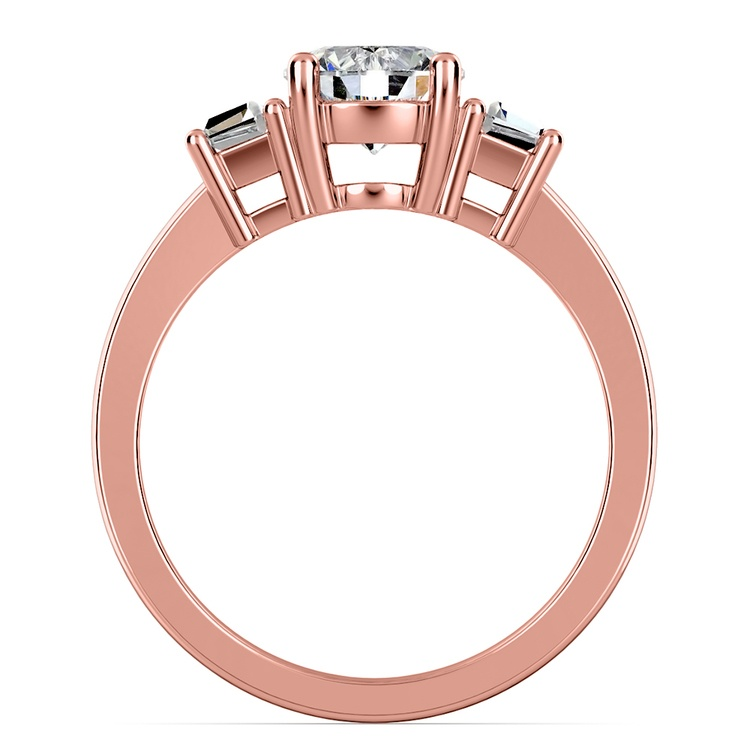 Trapezoid Diamond Engagement Ring in Rose Gold (1/3 ctw)   03