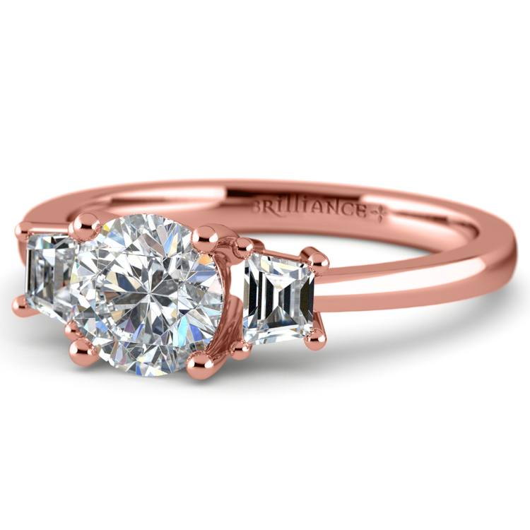 Trapezoid Diamond Engagement Ring in Rose Gold (1/3 ctw)   04