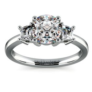 Trapezoid Diamond Engagement Ring in White Gold (1/3 ctw)