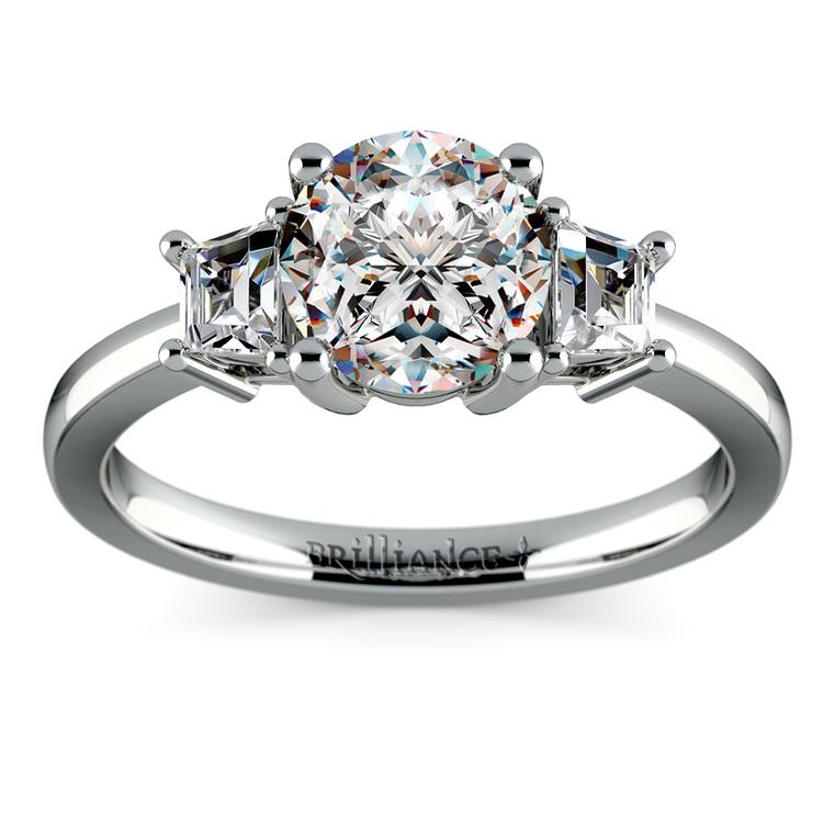 Trapezoid Diamond Engagement Ring in White Gold (1/3 ctw) | 01