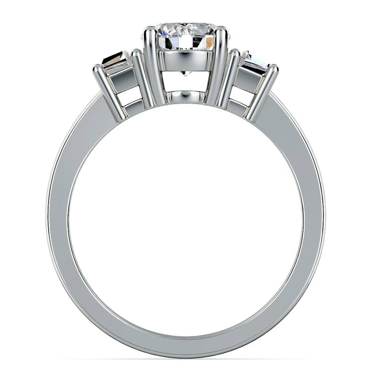 Trapezoid Diamond Engagement Ring in White Gold (1/3 ctw) | 03