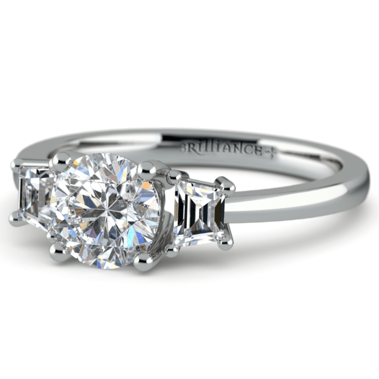 Trapezoid Diamond Engagement Ring in White Gold (1/3 ctw) | 04