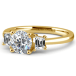 Trapezoid Diamond Engagement Ring in Yellow Gold (1/3 ctw) | Thumbnail 04