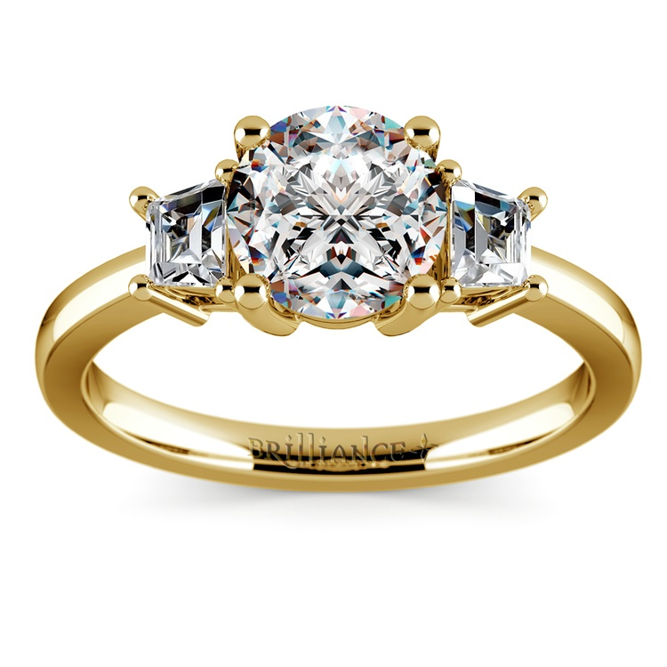 Trapezoid Diamond Engagement Ring in Yellow Gold (1/3 ctw) | 01