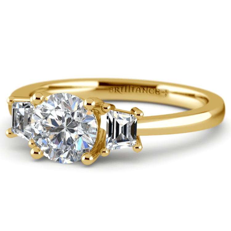 Trapezoid Diamond Engagement Ring in Yellow Gold (1/3 ctw) | 04