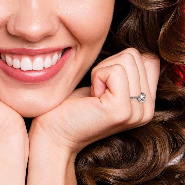 Trellis Diamond Engagement Ring in White Gold   07