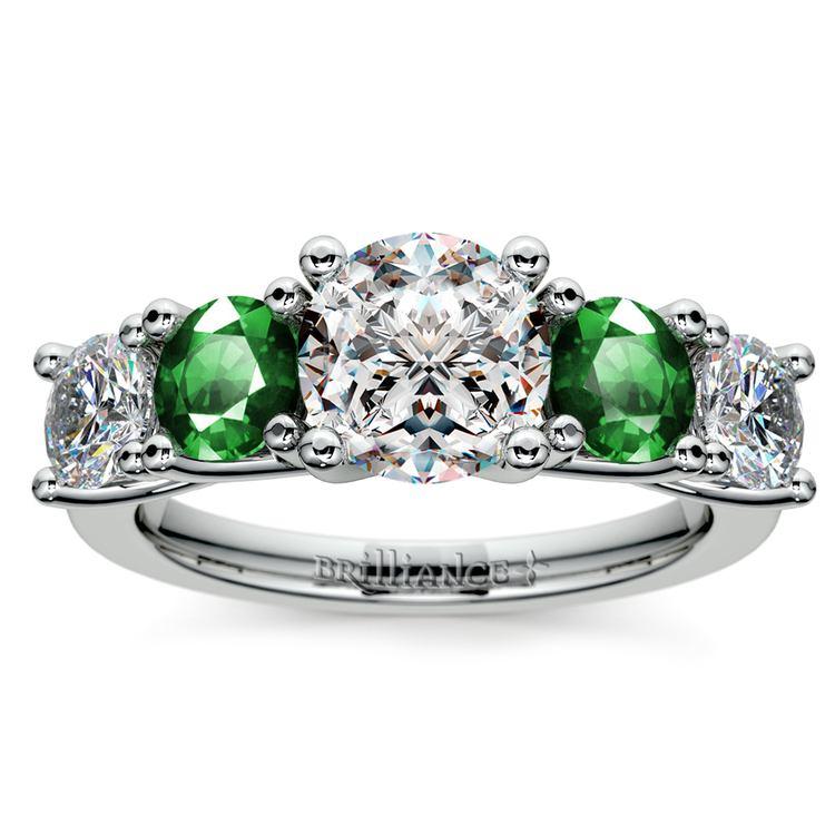 Trellis Emerald and Diamond Gemstone Engagement Ring in Platinum | 01