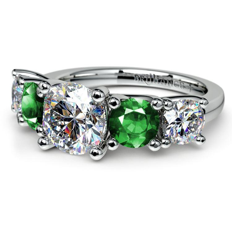 Trellis Emerald and Diamond Gemstone Engagement Ring in Platinum | 04