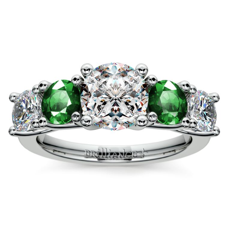 Trellis Emerald and Diamond Gemstone Engagement Ring in White Gold | 01