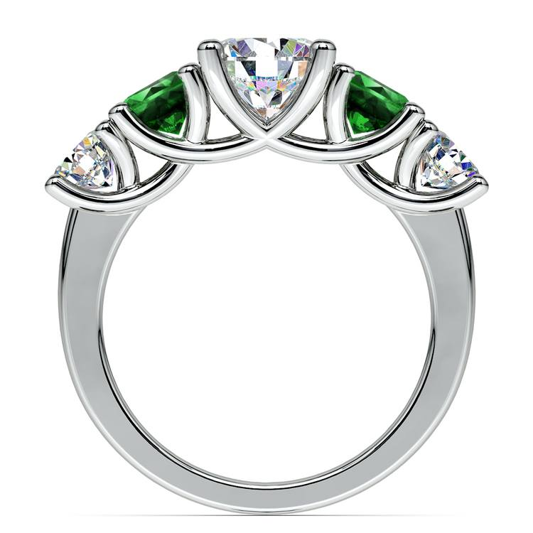 Trellis Emerald and Diamond Gemstone Engagement Ring in White Gold | 02