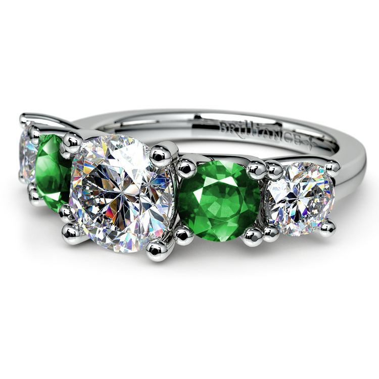 Trellis Emerald and Diamond Gemstone Engagement Ring in White Gold | 04