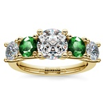 Trellis Emerald and Diamond Gemstone Engagement Ring in Yellow Gold | Thumbnail 01
