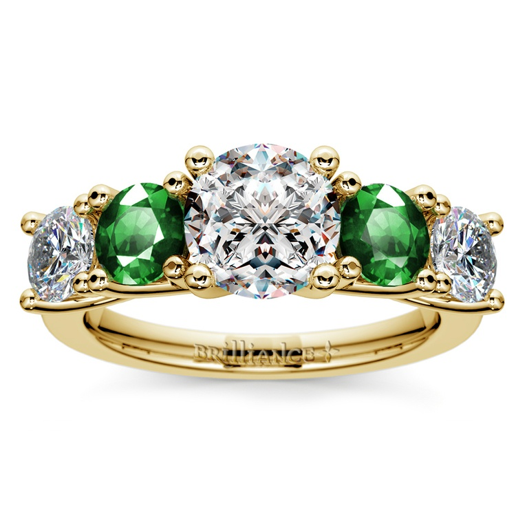 Trellis Emerald and Diamond Gemstone Engagement Ring in Yellow Gold | 01