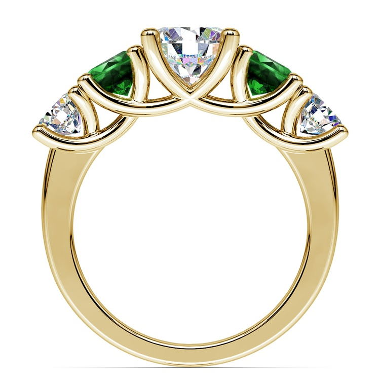 Trellis Emerald and Diamond Gemstone Engagement Ring in Yellow Gold | 02