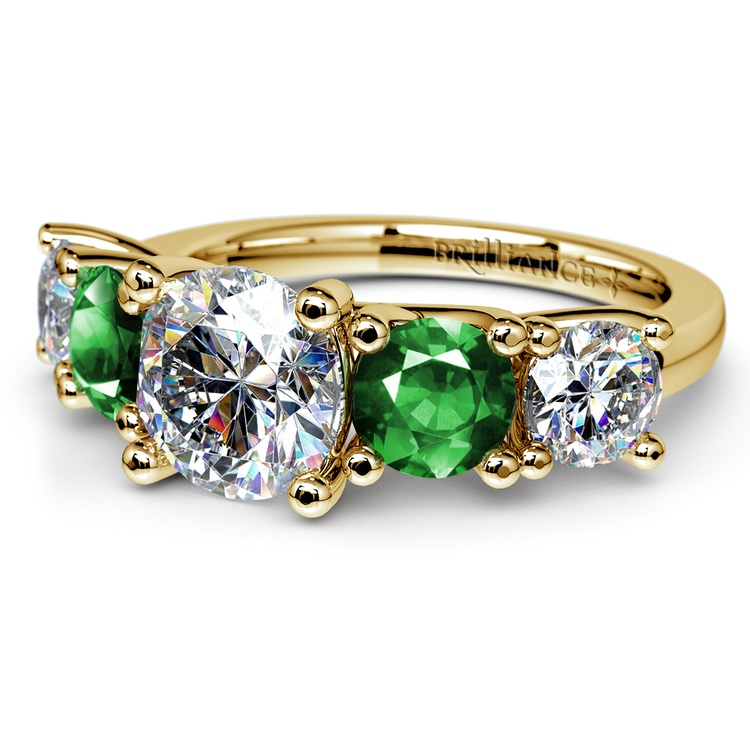 Trellis Emerald and Diamond Gemstone Engagement Ring in Yellow Gold | 04