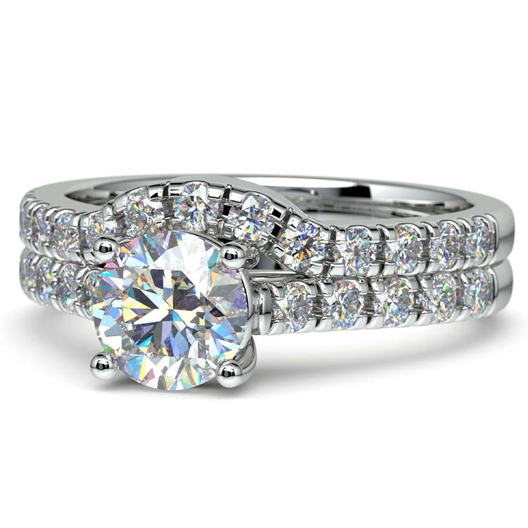 Trellis Engagement Ring And Matching Wedding Band In Platinum   04