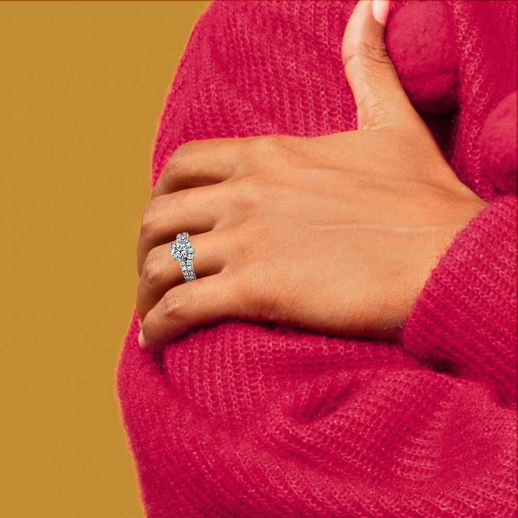 Trellis Engagement Ring And Matching Wedding Band In Platinum   07