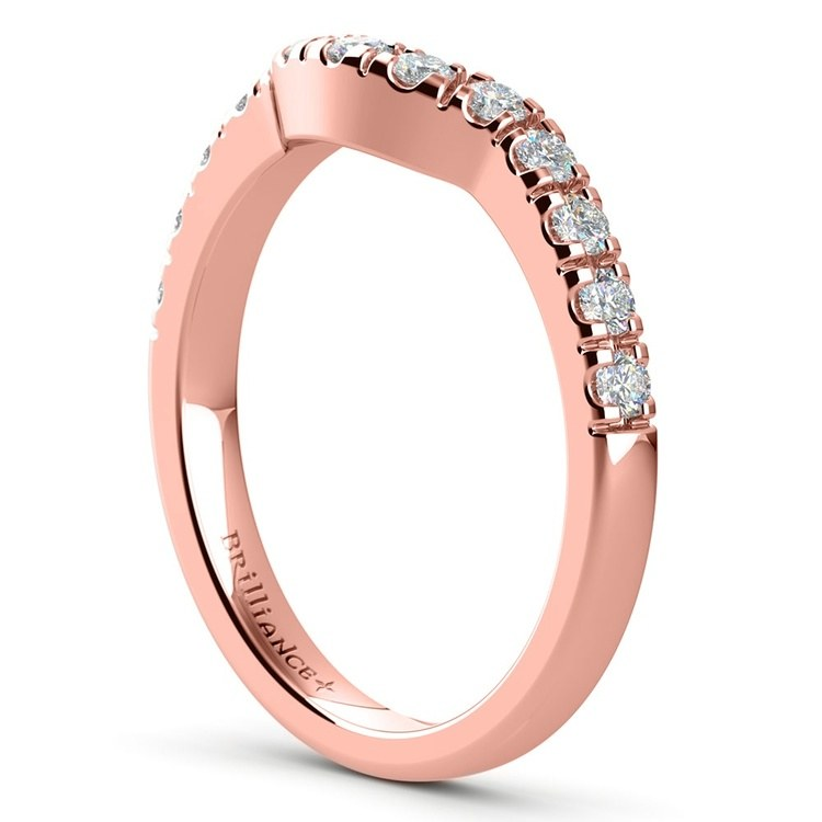 Trellis Engagement Ring And Matching Wedding Band In Rose Gold   05
