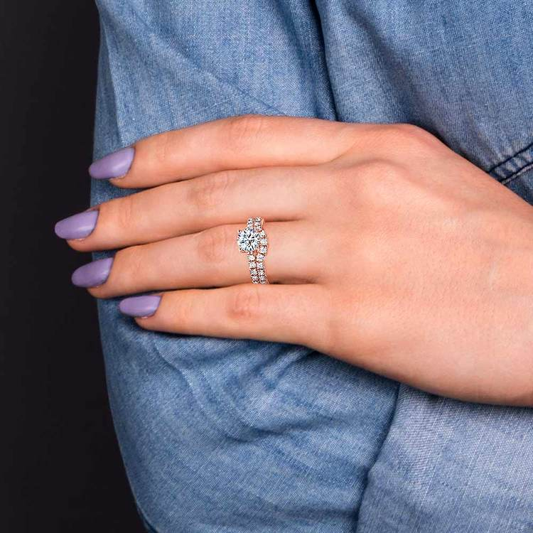 Trellis Engagement Ring And Matching Wedding Band In Rose Gold   07