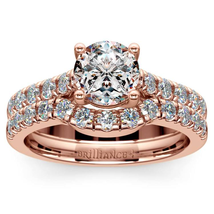 Trellis Engagement Ring And Matching Wedding Band In Rose Gold   01