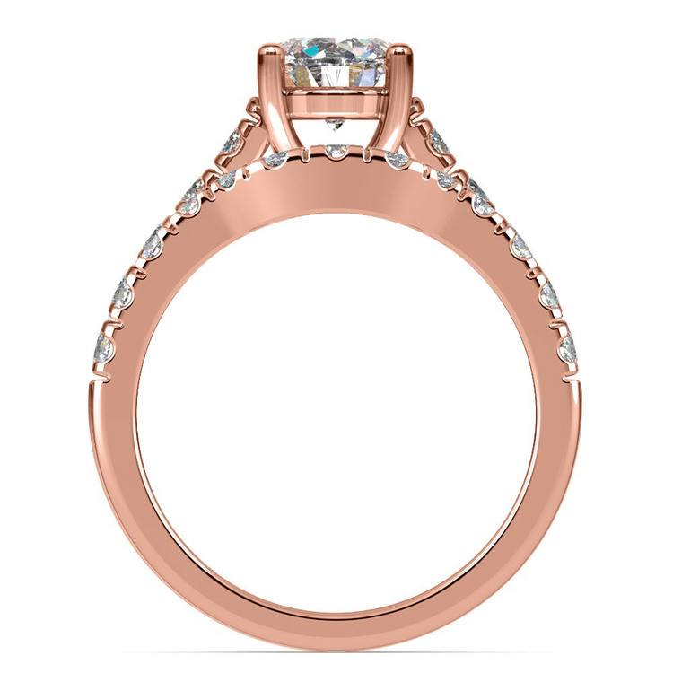 Trellis Engagement Ring And Matching Wedding Band In Rose Gold   02
