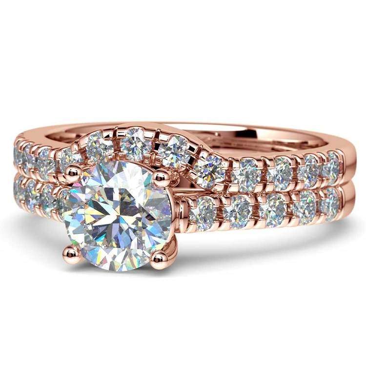 Trellis Engagement Ring And Matching Wedding Band In Rose Gold   04