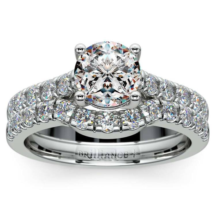 Trellis Engagement Ring And Matching Wedding Band In White Gold | 01