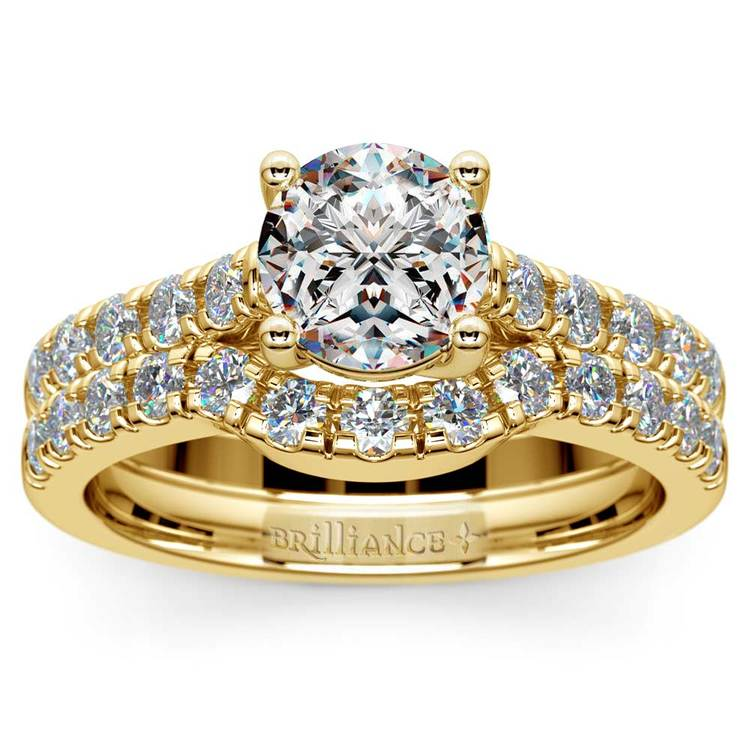 Trellis Engagement Ring And Matching Wedding Band In Yellow Gold | 01