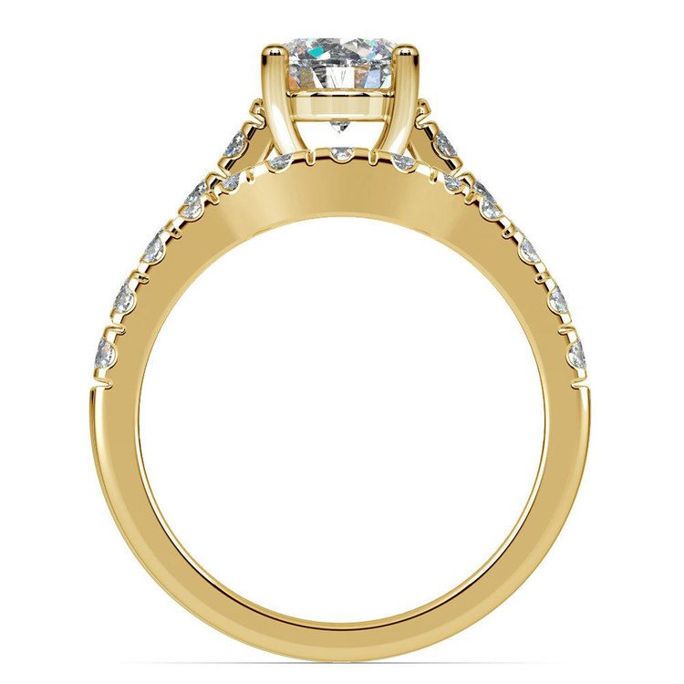 Trellis Engagement Ring And Matching Wedding Band In Yellow Gold | 02