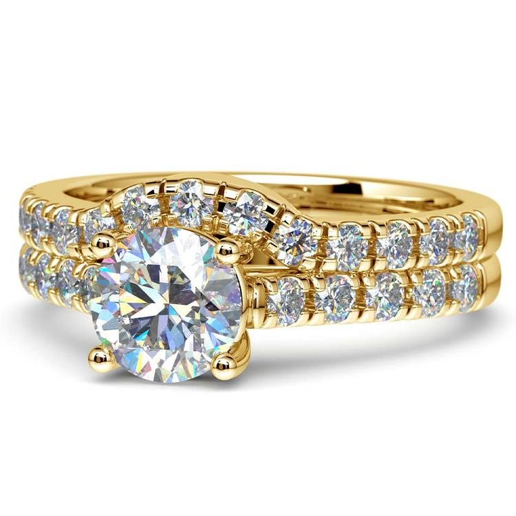 Trellis Engagement Ring And Matching Wedding Band In Yellow Gold | 04