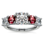 Trellis Ruby and Diamond Gemstone Engagement Ring in Platinum | Thumbnail 01